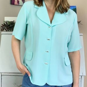 Vintage Pale Green Notched Collar Blouse